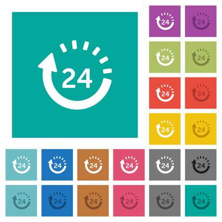 24 hour delivery multi colored flat icons on plain square backgrounds. Included white and darker icon variations for hover or active effects. Illustration
