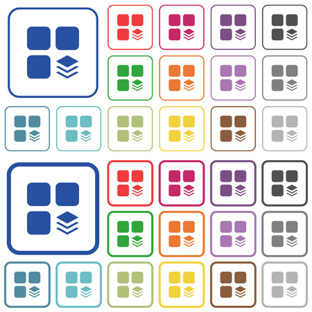 Multiple components color flat icons in rounded square frames. Thin and thick versions included.