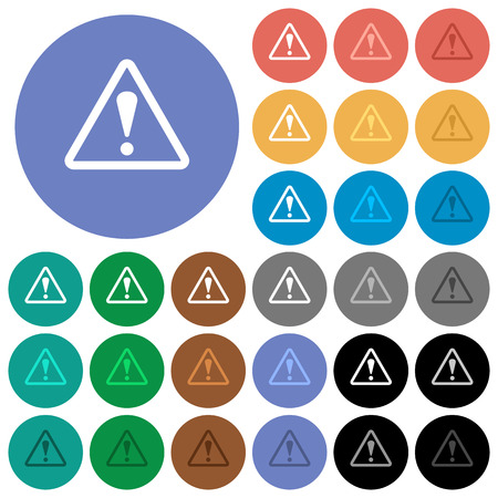 Triangle shaped warning sign multi colored flat icons on round backgrounds. Included white, light and dark icon variations for hover and active status effects, and bonus shades on black backgounds.