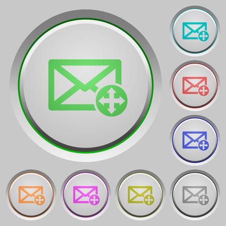 Mover iconos de color de correo en botones hundidos Ilustración de vector
