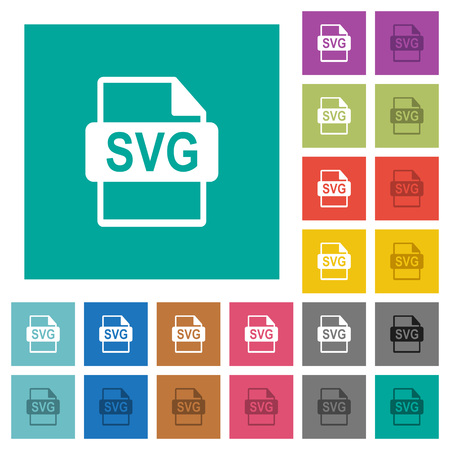 SVG file format multi colored flat icons on plain square backgrounds. Included white and darker icon variations for hover or active effects. Illustration