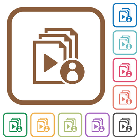 author: Playlist author simple icons in color rounded square frames on white background. Illustration