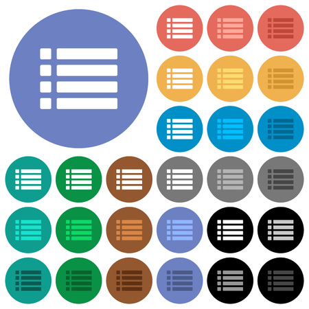 listing: Unordered list multi colored flat icons on round backgrounds. Illustration