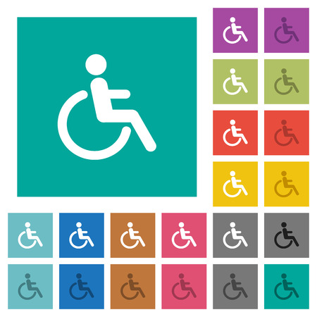 limitations: Disability multi colored flat icons on plain square backgrounds. Included white and darker icon variations for hover or active effects.