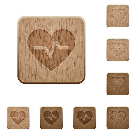 Heartbeat on rounded square carved wooden button styles.