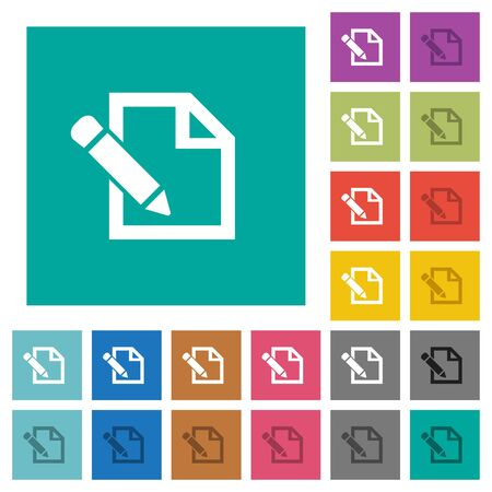 Edit with pencil multi colored flat icons on plain square backgrounds. Included white and darker icon variations for hover or active effects.