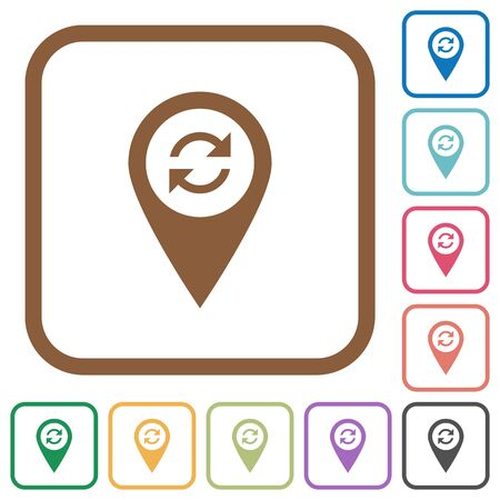 labeling: Syncronize GPS map location simple icons in color rounded square frames on white background Illustration