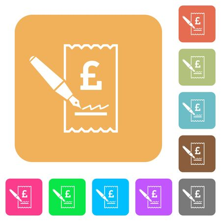 signing: Signing Pound cheque flat icons on rounded square vivid color backgrounds.