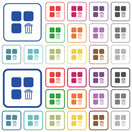 intercommunication: Delete component color flat icons in rounded square frames. Thin and thick versions included. Illustration