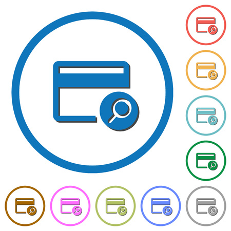 bankcard: Find credit card flat color vector icons with shadows in round outlines on white background