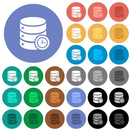 Database query time multi colored flat icons on round backgrounds. Included white, light and dark icon variations for hover and active status effects, and bonus shades on black backgounds.