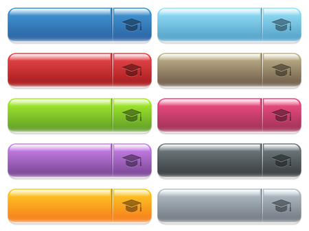Graduate cap engraved style icons on long, rectangular, glossy color menu buttons. Available copyspaces for menu captions. Illustration