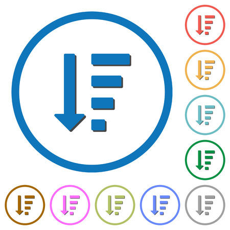 descending: Descending ordered list mode flat color vector icons with shadows in round outlines on white background Illustration