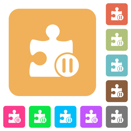 break joints: Pause plugin flat icons on rounded square vivid color backgrounds.