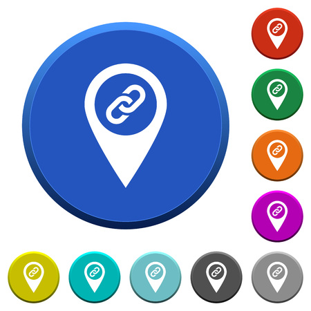 labeling: GPS map location attachment round color beveled buttons with smooth surfaces and flat white icons Illustration