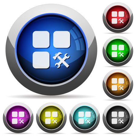 intercommunication: Component tools icons in round glossy buttons with steel frames Illustration