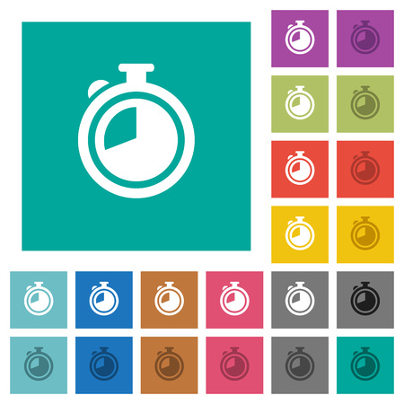 Timer multi colored flat icons on plain square backgrounds. Included white and darker icon variations for hover or active effects.