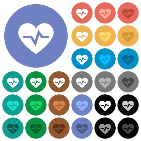 Heartbeat multi colored flat icons on round backgrounds. Included white, light and dark icon variations for hover and active status effects, and bonus shades on black backgounds.