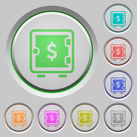 strongbox: Dollar strong box color icons on sunk push buttons