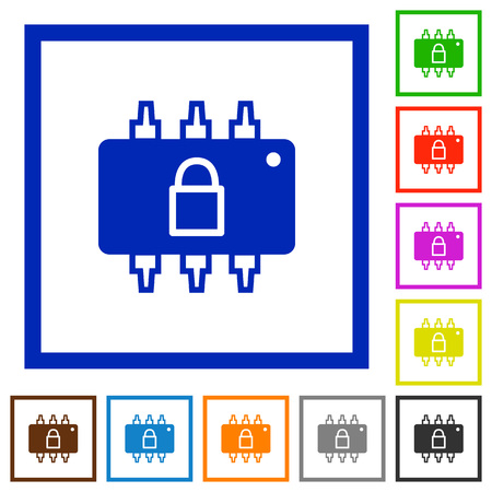 microprocessor: Hardware locked flat color icons in square frames on white background