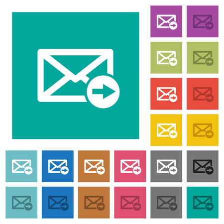 transmit: Mail forwarding multi colored flat icons on plain square backgrounds. Included white and darker icon variations for hover or active effects.
