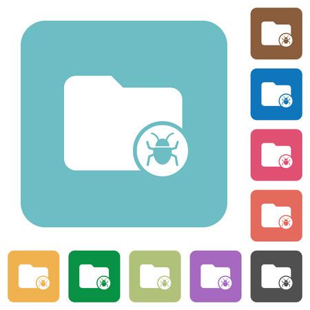 quarantine: Quarantine directory white flat icons on color rounded square backgrounds Illustration
