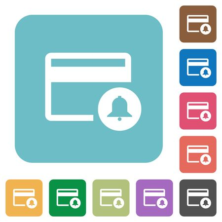 bankcard: Credit card transaction alerts white flat icons on color rounded square backgrounds