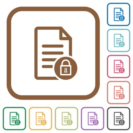 lock block: Locked document simple icons in color rounded square frames on white background