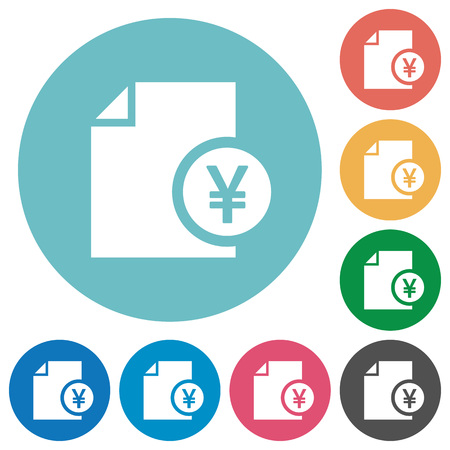 cash money: Yen financial report flat white icons on round color backgrounds. Illustration