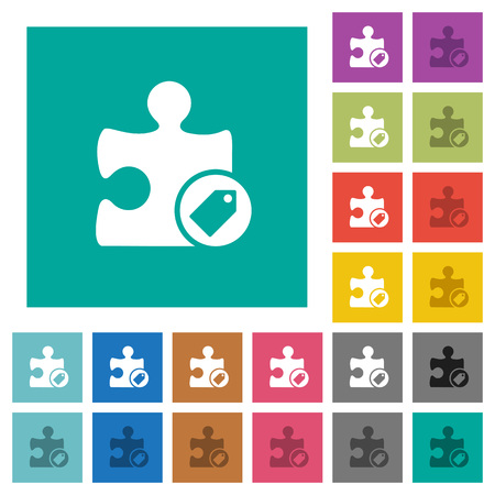 Tag multi colored flat icons on plain square backgrounds.