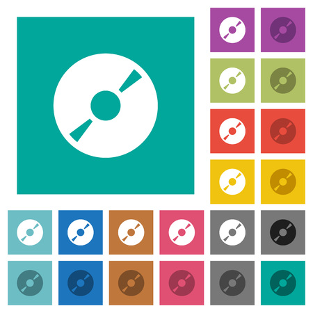 DVD disk multi colored flat icons on plain square backgrounds. Included white and darker icon variations for hover or active effects.