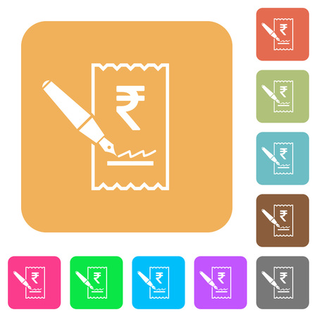 signing papers: Signing Rupee cheque flat icons on rounded square vivid color backgrounds. Illustration