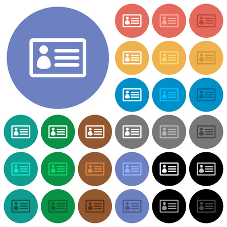 datasheet: ID card multi colored flat icons on round backgrounds. Included white, light and dark icon variations for hover and active status effects, and bonus shades on black backgounds.