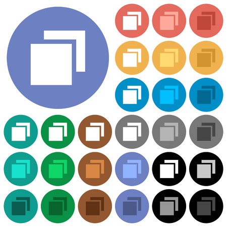 Overlapping elements multi colored flat icons on round backgrounds. Included white, light and dark icon variations for hover and active status effects, and bonus shades on black backgounds.