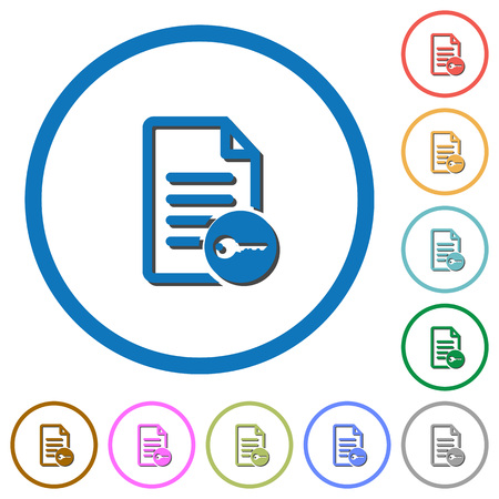 to encode: Secure document flat color vector icons with shadows in round outlines on white background