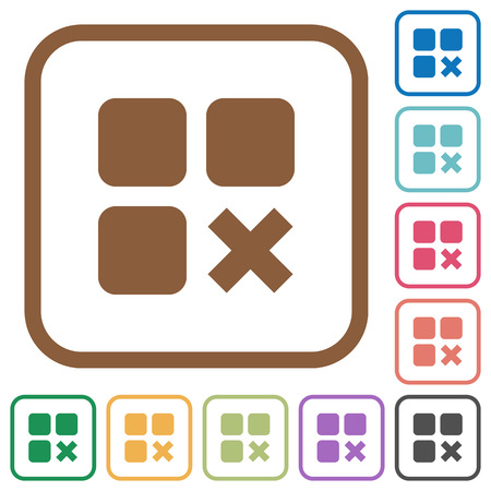 intercommunication: Component cancel simple icons in color rounded square frames on white background Illustration
