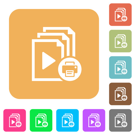 Print playlist flat icons on rounded square vivid color backgrounds.