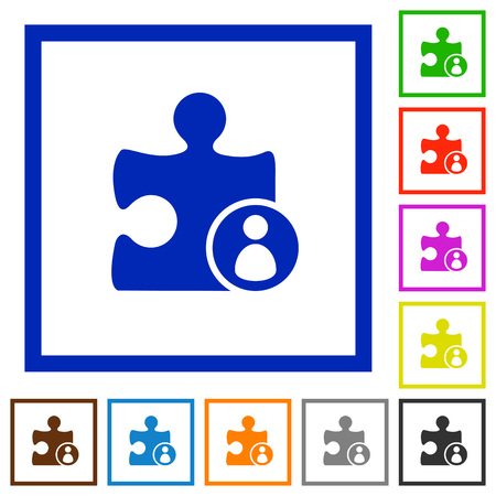 author: Plugin author flat color icons in square frames on white background
