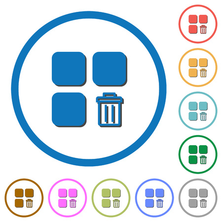 Delete component flat color vector icons with shadows in round outlines on white background