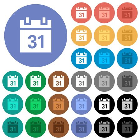 event planning: Calendar multi colored flat icons on round backgrounds. Included white, light and dark icon variations for hover and active status effects, and bonus shades on black backgounds. Illustration