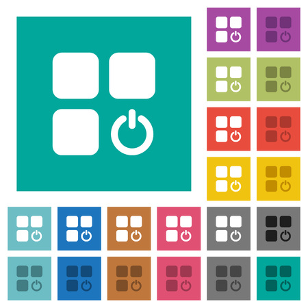 intercommunication: Component switch off multi colored flat icons on plain square backgrounds. Included white and darker icon variations for hover or active effects.
