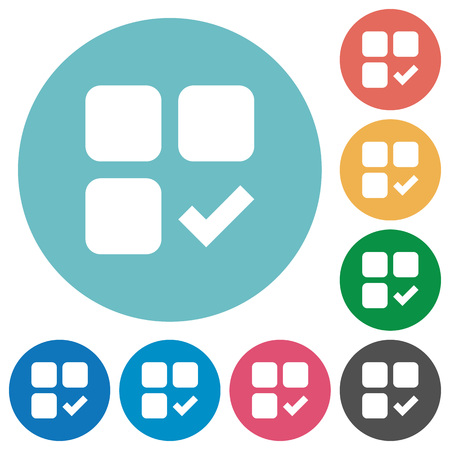 Component ok flat white icons on round color backgrounds