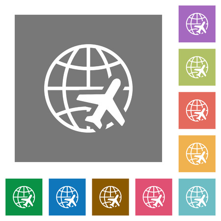 multiple: World travel flat icons on simple color square backgrounds