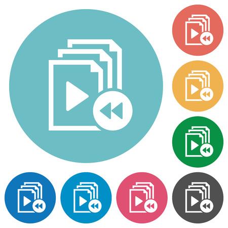 multiple: Playlist fast backward flat white icons on round color backgrounds