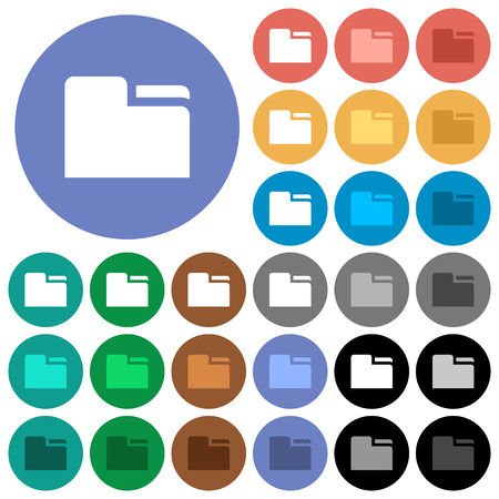 Tab folder multi colored flat icons on round backgrounds. Included white, light and dark icon variations for hover and active status effects, and bonus shades on black backgounds. Illustration