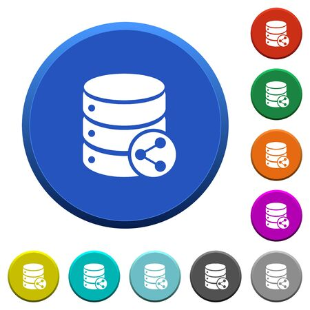 Database table relations round color beveled buttons with smooth surfaces and flat white icons  イラスト・ベクター素材