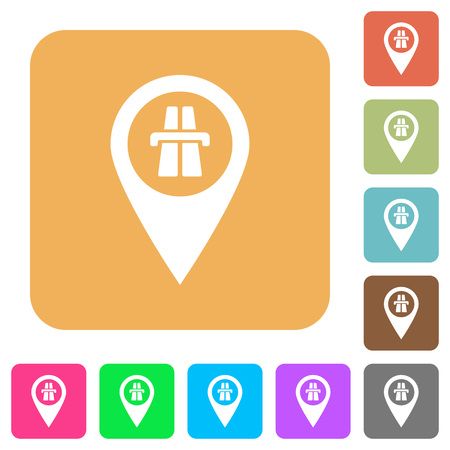 Highway GPS map location flat icons on rounded square vivid color backgrounds.