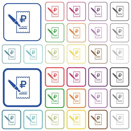 signing: Signing Ruble cheque color flat icons in rounded square frames. Thin and thick versions included.