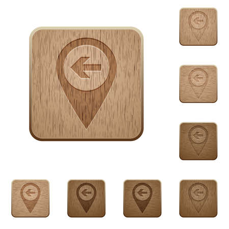 predecessor: Previous target GPS map location on rounded square carved wooden button styles Illustration