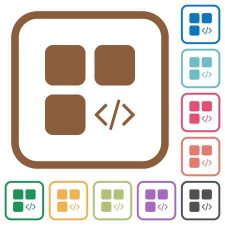 Component programming simple icons in color rounded square frames on white background